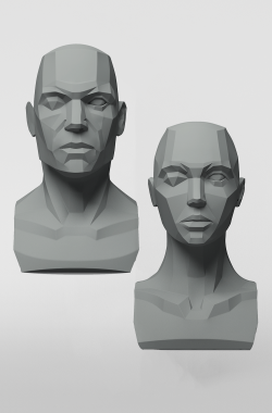 3dtotal Anatomy: Male & female planar busts